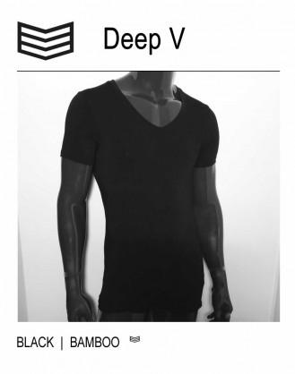 Diepe V-hals T-shirt Zwart