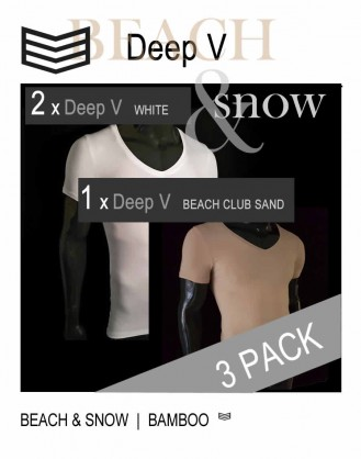 Bamboo Beach and Snow Deep V T-shirts 3-Pack