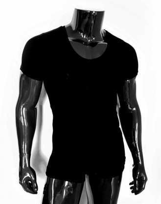 Deep V Neck T-shirt Black